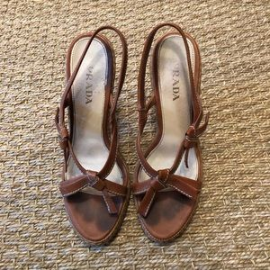 Prada Camel Leather Sandals.